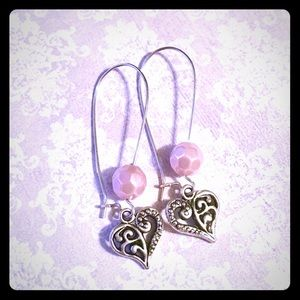 Jewelry - 💖✨Pink Pearl Beaded Heart Earrings✨💖